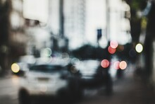 Defocused Image Of Traffic On City Street