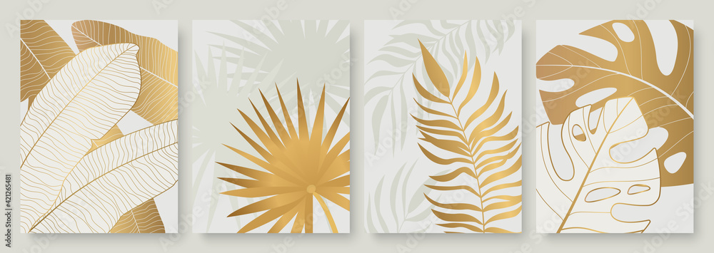 Fototapeta Tropical golden leaves vector illustration set. Exotic luxury abstract gold palm tree leaf, minimal foliage of tropic summer island, vertical floral modern template background for social media stories