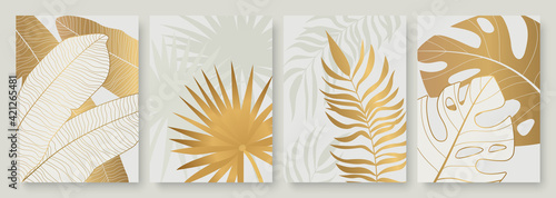 Tropical golden leaves vector illustration set. Exotic luxury abstract gold palm tree leaf, minimal foliage of tropic summer island, vertical floral modern template background for social media stories - fototapety na wymiar