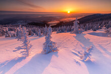 The Beauty Of Winter On The Snowy Mountains At Sunrise. Vladeasa Mountains - Romania