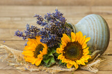 Sunflowers And Lavender In A Vase