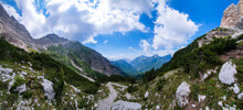 Panoramic View Of A Wide Glacial Scree In The Dolomites