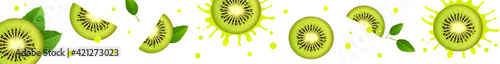 Fototapeta Horizontal Banner with Juicy Kiwi Slices obraz