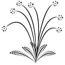 Explosion For Fireworks In The Shape Of A Flower With Long Stamens. Vector Icon Isolated On White, Hand Drawing Style.