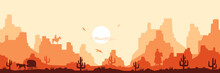 Hot Savanna Wild West Background. Daytime Yellow Heat With Silhouettes Cacti And Cowboys Horseback Orange Mountains In Haze Of Flying Vultures Vector
