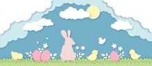 Easter Bunny, Chicks And Easter Eggs On Meadow Papercut 3d Design, Easter Holidays Egg Hunt Illustration, Animals And Bugs In Spring Nature, Clouds And Sun Paper Cut Vectors