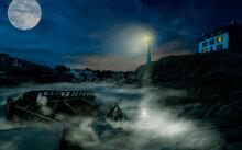 Bretagne Doelan - Hafen Mit Leuchtturm Bei Nacht Und Nebel Mit Bootswrack