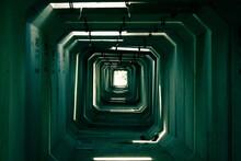 Directly Below Shot Of Illuminated Tunnel