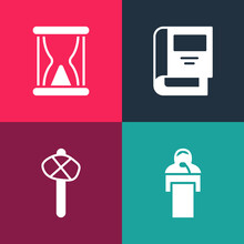 Set Pop Art Gives Lecture, Stone Age Hammer, History Book And Old Hourglass With Sand Icon. Vector