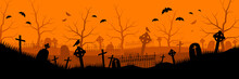 Abandoned Old Cemetery Background. Black Rickety Crosses With Gravestones And Rusty Railing Withered Trees With Bats And Orange Vector Haze.