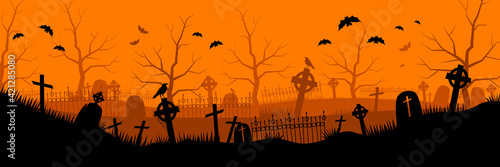 Tableau sur Toile Abandoned old cemetery background