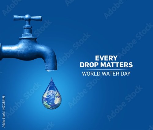 Fototapeta World Water Day Concept. Every Drop Matters. Saving water and world environmental protection concept- Environment day obraz