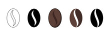 Coffee Beans Vector Icon. Coffee Beans Various Kinds In Collection, Vector Illustration