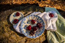 Still Life Of Ripe Red Cherries In Blue And White Bowl With Silver Spoon On Tree Stump