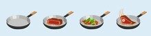 Process Of Frying Meat And Vegetables In Skillet. Stir Fried Brown Beefsteak And Fried Green Vegetable Mixture With Vector Pepper.