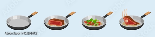 Fényképezés Process of frying meat and vegetables in skillet