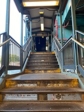 Low Angle View Of Empty Staircase At Railroad Station On White Plains Road New York Usa Summer 2020