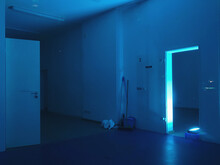 Neon Blue Illuminated Building Interior, Empty Room At Night