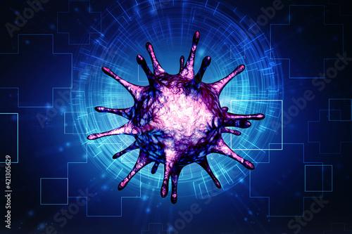 3d rendering Virus bacteria cells background Fotobehang