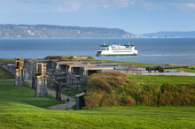 Washington State Ferry Crossing Admiralty Inlet On The Keystone To Port Townsend Run. Gun Battery Of Fort Casey State Park Are In The Foreground.