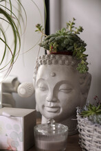 Decorative Buddha Head Pot Used Hold Green Succulents ,  Plants , Or Flowers