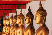 Buddha Statues In Row At Temple