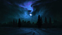 Full Moonlight Night View Beautiful Nature Digital Art