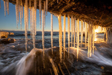 Icicles On Lake Ontario Shore