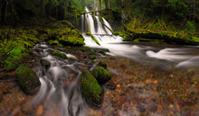 USA, Washington State, Lower Panther Creek Falls. Waterfall And Stream.
