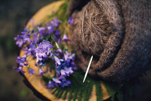 Wildflowers In Summer.  Handicrafts And Flowers. Knitting In Nature