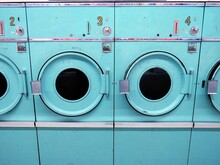 Full Frame Shot Of Turquoise Washing Machines In Laundromat