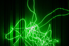 Long Exposure Abstract Photo Of A Green Laser