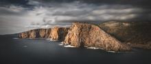 Dark Look Coastal Stacks Of Cala Domestica, Sardinia, Sulcis Iglesiente