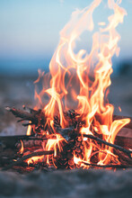 Close-up Of Fire On The Beach