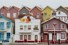 Typical Colourful Houses In Costa Nova - Aveiro Against Sky