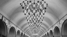 Low Angle View Of Illuminated Chandelier In Moscow Metro Station Mendeleevskaya