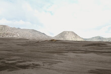 Mount At The Dessert Field. This Photo Was Taken On Bromo Mountain, Mid  June 2013.