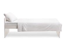 Studio Shot Of A White Single Bed