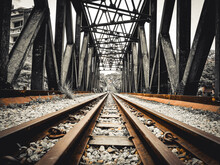 Railroad Tracks In Bridge