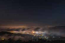 Starry Night With Sea Of Clouds Over Yuen Long  Kam Tin Area, Tai Mo Shan Mountain View, Hong Kong