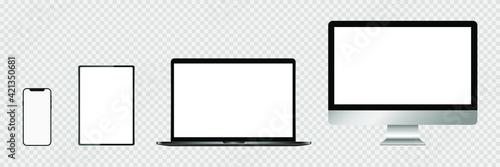 Obraz Realistic set of monitor, laptop, tablet, smartphone. Stock Vector illustration. - fototapety do salonu