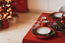 High Angle View Of Christmas Decoration On Table At Home