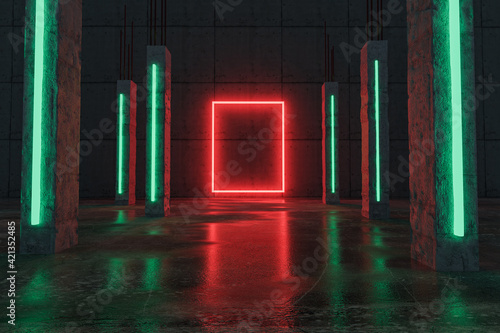 Fototapeta red lighten rectangle shape next by green concrete pillars and grunge floor with puddles