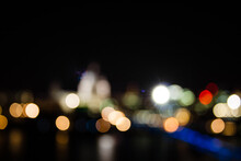 Defocused Lights/bokeh At Night Looking Across St Paul's Cathedral, London, United Kingdom