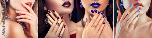 Fototapeta Nail art and design. Beauty fashion model with different make-up and manicure wearing jewelry. Set of looks obraz