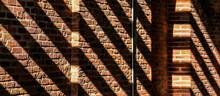 Diagonal Shadows And Paterns On A Brick Wall