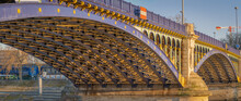 Clichy, France - 02 28 2021: Detail Of The Gennevilliers Bridge At Sunset