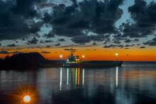 Beautiful Seascape Of Port At Night