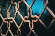 Close-up Of Rusty Chainlink Fence