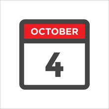 October 4 Calendar Icon With Day Of Month